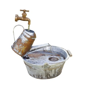 "18"" Rustic Watering Can Metal Fountain"