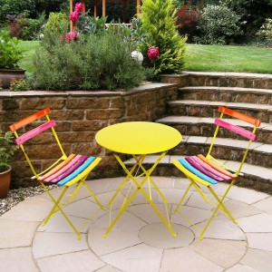 "32"" Vibrant Rainbow Colored Metallic Fold-able Bistro Set"