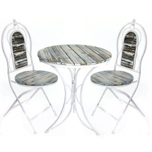 "37"" Metallic Patio Garden Table and Chair Set with Rustic Finish"