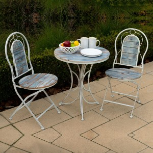 """37"""" Metallic Patio Garden Table and Chair Set with Rustic Finish"""