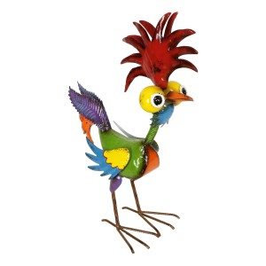 "18"" Colorful Eccentric Tropical Rooster Décor with Glossy Finish"