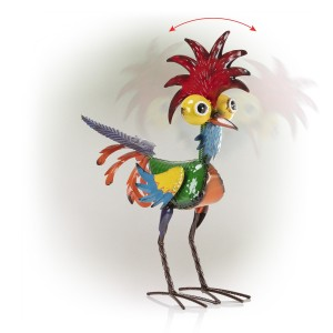 """18"""" Colorful Eccentric Tropical Rooster Décor with Glossy Finish"""