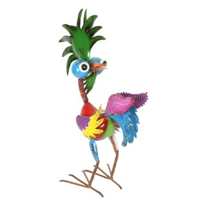 "19"" Colorful Bizarre Tropical Rooster Décor with Glossy Finish"