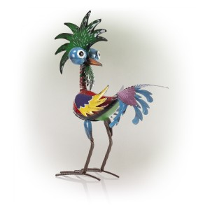 """19"""" Colorful Bizarre Tropical Rooster Décor with Glossy Finish"""
