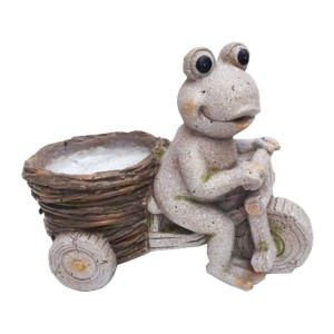 "12"" Stone Tricycle Riding Frog with Planter Basket"