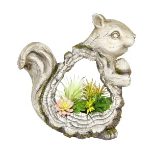 "15"" Stone Squirrel Planter with Wooden Carved Finish"