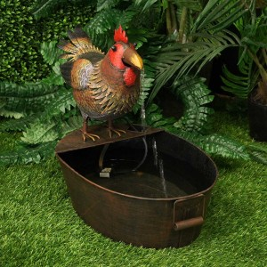 "20"" Metal Rooster Fountain"