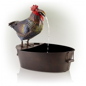 """20"""" Metal Rooster Fountain"""
