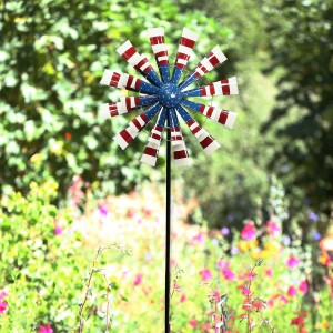 "75"" Patriotic Metal Windmill Stake"