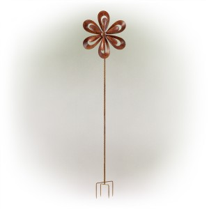 "96"" Metallic 3D Windmill Spinner Garden Stake with Rustic Finish"