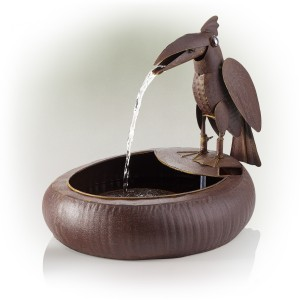 "16"" Straddling Toucan Metallic Fountain with Rustic Finish"