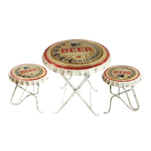 Beer Metal Bottle Cap Table and Chairs