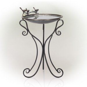 "34"" Elegant Metallic Bird Bath with Twigs and Hummingbirds"