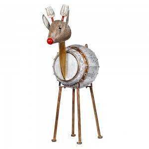 "33"" Weathered Barrel Reindeer with Warm White LED Lights"