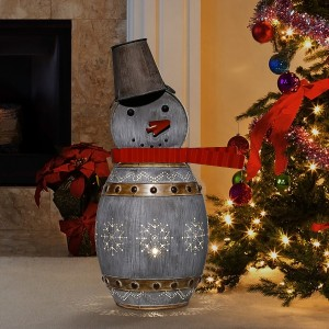 "30"" Metallic Barrelled Snowman Décor with Warm White LED Lights"