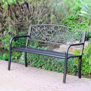 "50"" Scrolling Hearts Park Bench"