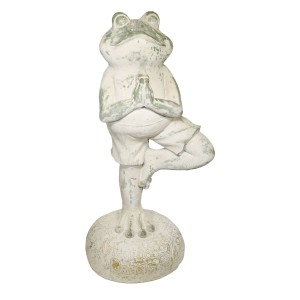"27"" Green Tree Yoga Pose Frog Garden Statue with Mossy Finish"