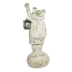 """26"""" Green Frog with Lantern Garden Statue with Mossy Finish"""