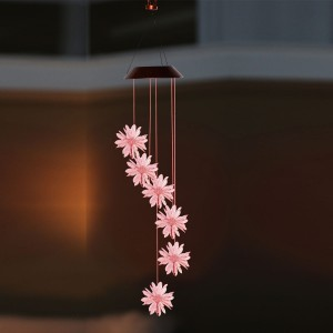 """28"""" Solar 3D Flowers Wind Chime with Color Changing LEDs"""
