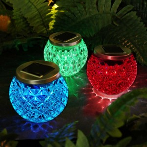 Solar Color Changing  LED Textured Glass Décor