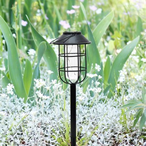 "17"" Solar Black Metal DUAL Feature Pathway / Lantern Decor"