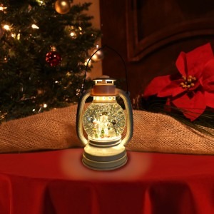 "11"" White Christmas Snow Globe Lantern with Warm White LED Light"