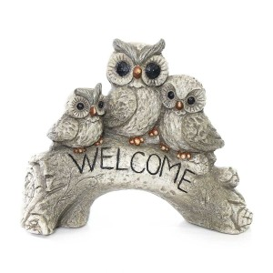 "Owl Family ""Welcome"" Statue"