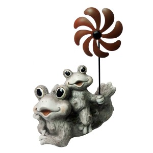 "19"" Mother and Baby Frog Duo Garden Statue with Windmill"