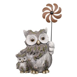 "22"" Owl and Owlet Nocturnal Duo Garden Statue with Windmill"