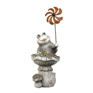 "17"" Sitting Frog on Overgrown Mushroom Statue with Windmill"