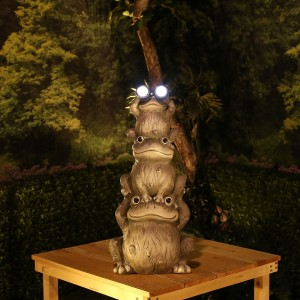 "23"" Solar Stacked Frogs Garden Statue with LED Lights"