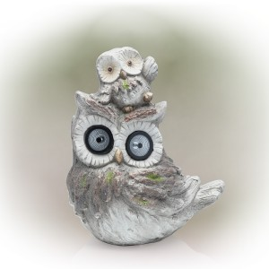 """15"""" Solar Owl and Owlet Garden Statue with LED Lights"""