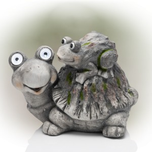 """11"""" Solar Turtle and Hatchling Garden Statue with LED Lights"""