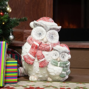 "14 "" Winter Owl Family Statue 