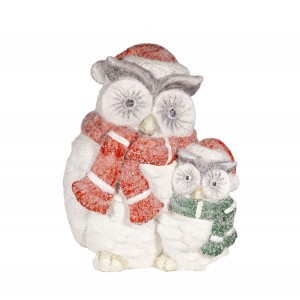 """14 """" Winter Owl Family Statue 