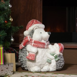 "15"" Winter Hedgehogs Family Statue"