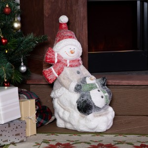 "17"" Snowman and Penguin Statuary"