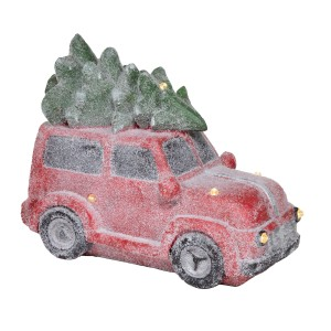 """17"""" Retro Red Car with Christmas Tree and LED Lights"""