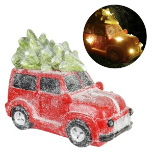 "17"" Retro Red Car with Christmas Tree and LED Lights"