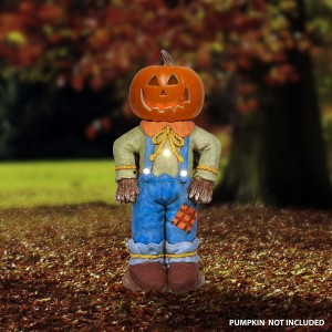 "20"" Halloween Scarecrow Pumpkin Holder w/ Warm White LED Lights"