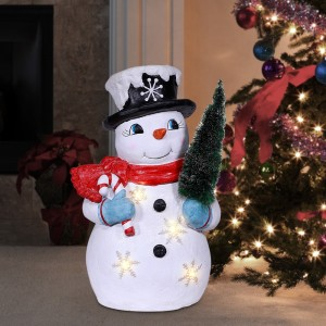 "25"" Solar Snowman Décor with White LED Lights"