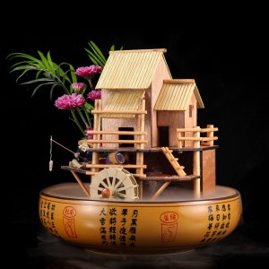 "10"" Bamboo House Fountain W/ Decorative Pot"