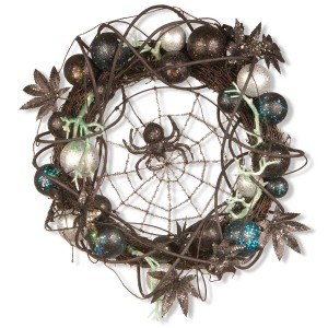 """18"""" Halloween Wreath with Ornaments & Black Spider in the Center"""