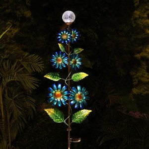 Solar Glass Ball and Metal Daisy Windspinner Garden Stake