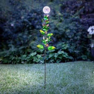 "65"" Solar Glass Ball w/ LED Light and Hummingbird Petaled Stake"