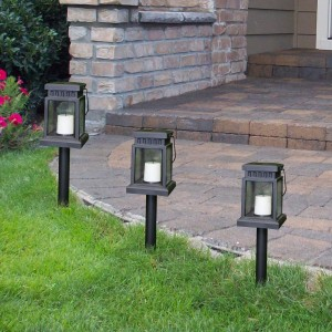 Solar Black Lantern Pathway Light Stake