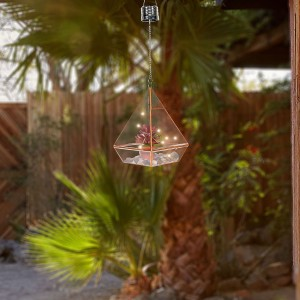 "17"" Solar Hanging Red Succulent Terrarium with LED Lights"