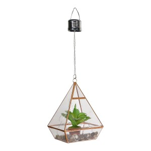 Solar Hanging Leafy Succulent Terrarium with LED Lights