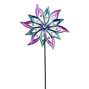 """64"""" Floral Dual Spinning Garden Stake with Gems"""
