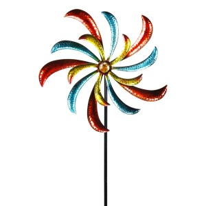 """64"""" Colorful Curved Blade Dual Wind Spinner Garden Stake"""